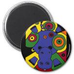 XX- Hippo Abstract Art Fridge Magnet