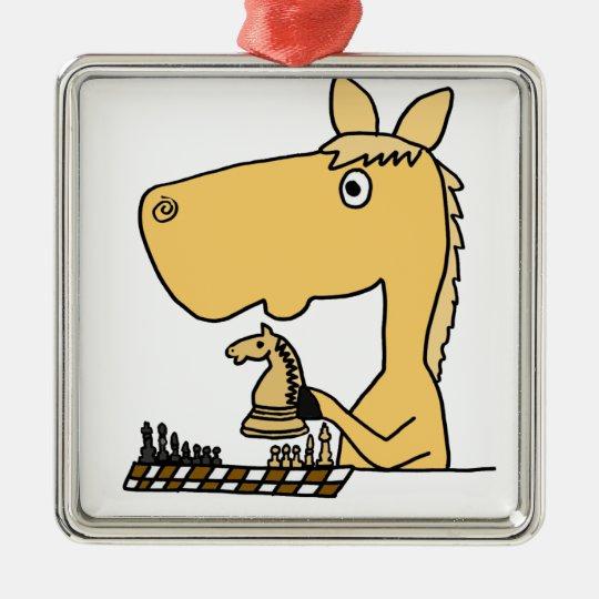 XX- Horse Playing Chess Cartoon Metal Ornament