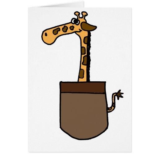 XX jirafa divertida en un bolsillo Tarjeton
