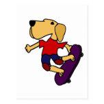 XX- Labrador Retriever Dog Skateboarding Postcard