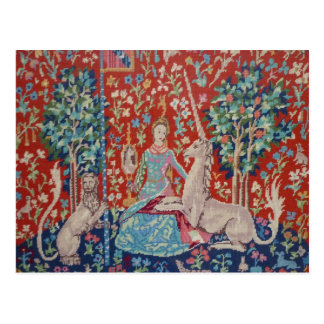 XX- Lady and the Unicorn Tapestry Art Design Postcard