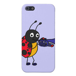 XX- Ladybug Playing Trumpet Cartoon Cover For iPhone SE/5/5s
