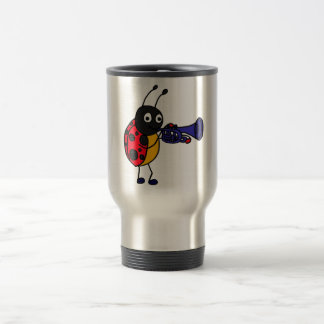 XX- Ladybug Playing Trumpet Cartoon Travel Mug