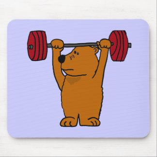 XX levantamiento de pesas divertido del oso de Bro Tapetes De Ratón