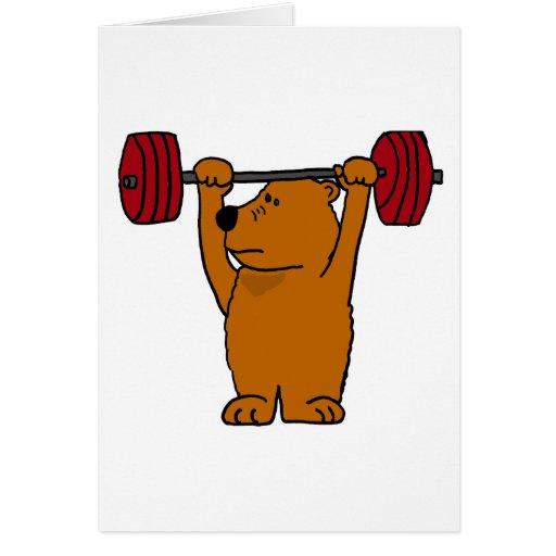 XX levantamiento de pesas divertido del oso de Bro Tarjeta De Felicitación