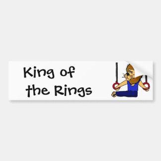 XX- Lion Gymnast on the Rings Cartoon Car Bumper Sticker