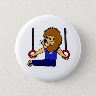 XX- Lion Gymnast on the Rings Cartoon Button