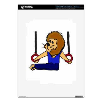 XX- Lion Gymnast on the Rings Cartoon iPad 3 Decal