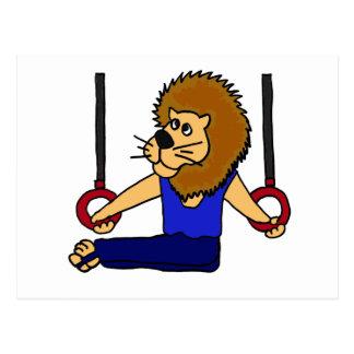 XX- Lion Gymnast on the Rings Cartoon Postcard