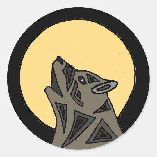 XX lobo impresionante del grito Pegatina Redonda