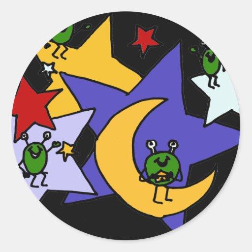 XX Martian y arte de las estrellas Pegatina Redonda