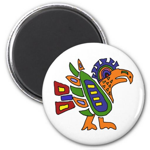 XX- Mexican Style Colorful Eagle 2 Inch Round Magnet