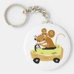 XX- Mouse Driving a Cheese Car Cartoon Basic Round Button Keychain
