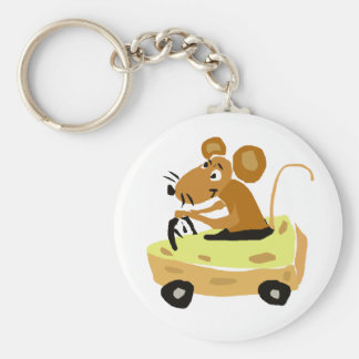 XX- Mouse Driving a Cheese Car Cartoon Keychain