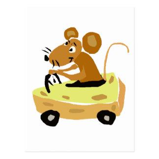 XX- Mouse Driving a Cheese Car Cartoon Postcard