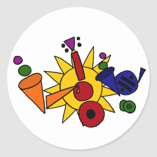 XX- Music and Sun Abstract Art Round Stickers