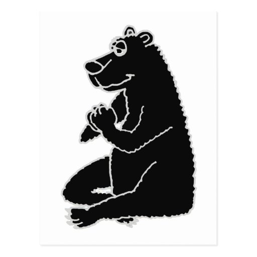 XX oso negro divertido que hace yoga Postal