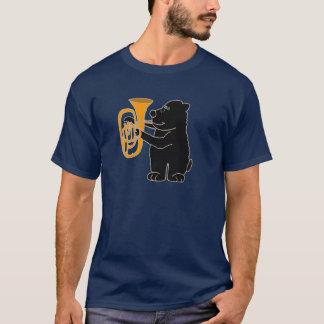 XX oso negro que juega la tuba Playera