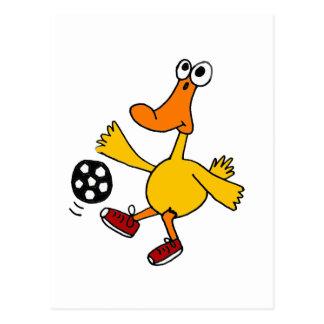 XX pato que juega el dibujo animado del fútbol Postal
