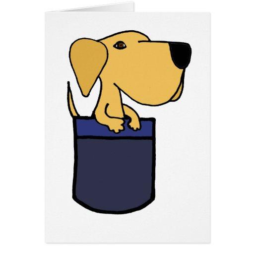 XX perro amarillo de Labrador en un bolsillo Tarjeta De Felicitación