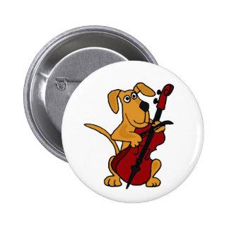 XX perro de perrito de Brown que toca el violoncel Pin Redondo De 2 Pulgadas