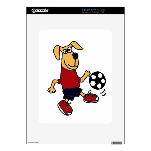 XX perro divertido que juega a fútbol iPad Skin