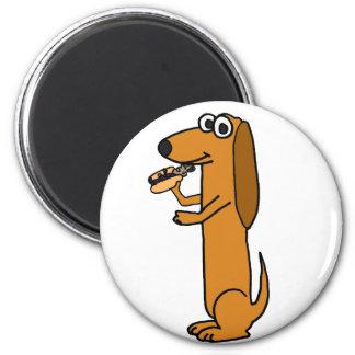 XX perro que come el dibujo animado del perrito ca Imán Redondo 5 Cm