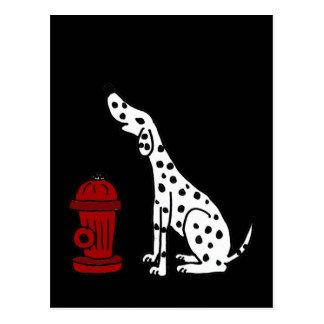 XX perro y boca de incendios dálmatas Tarjeta Postal