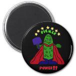 XX- Pickle Power Superhero Pickleball Cartoon 2 Inch Round Magnet