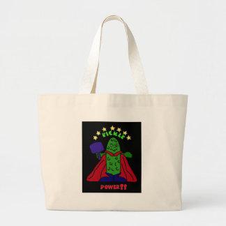 XX- Pickle Power Superhero Pickleball Cartoon Tote Bag