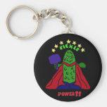 XX- Pickle Power Superhero Pickleball Cartoon Basic Round Button Keychain