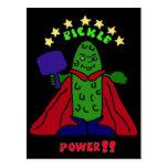 XX- Pickle Power Superhero Pickleball Cartoon Postcard