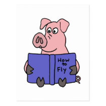 XX- Pig Reading How to Fly Book Postcard