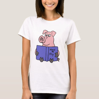 XX- Pig Reading How to Fly Book T-Shirt