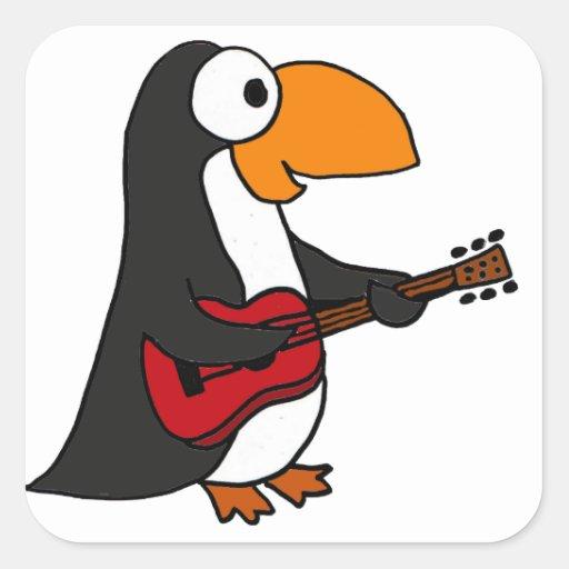 XX pingüino divertido que toca la guitarra Calcomanías Cuadradass