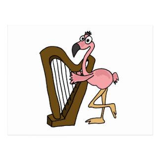 XX- Pink Flamingo Playing Harp Postcard