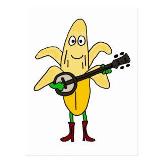XX plátano divertido que juega el dibujo animado Postal