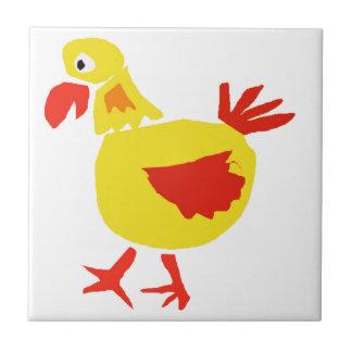 XX pollo del arte del primitivo Azulejo Cuadrado Pequeño