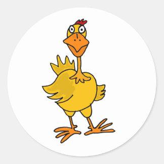 XX pollo torpe hilarante Pegatina Redonda