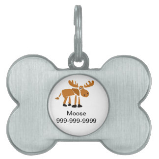 XX- Primitive Art Moose Pet Name Tag