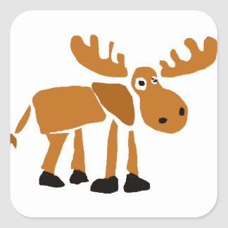 XX- Primitive Art Moose Square Sticker