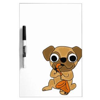 XX- Pug Playing Saxophone Cartoon Dry Erase Boards