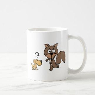 XX- Puppy Dog Meets Giant Squirrel Cartoon Coffee Mug