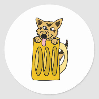 XX- Puppy in a Beer Mug Classic Round Sticker