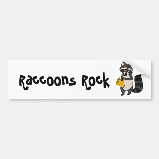 XX- Raccoon Playing Saxophone Cartoon Bumper Sticker