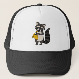 XX- Raccoon Playing Saxophone Cartoon Trucker Hat