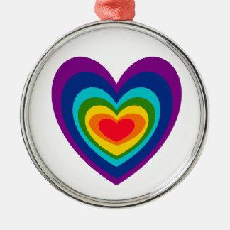 XX- Rainbow Heart Art Design Christmas Ornament