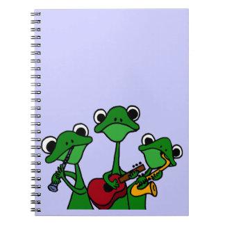 XX ranas que juegan el dibujo animado de la música Cuaderno