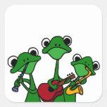 XX ranas que juegan el dibujo animado de la música Calcomanías Cuadradass Personalizadas