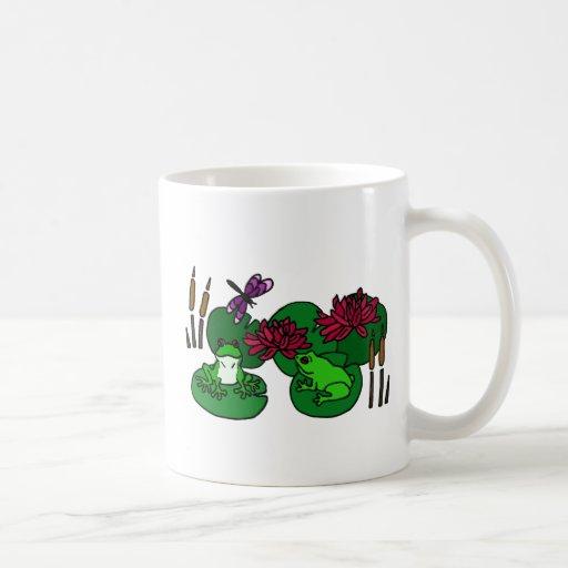 XX ranas y arte floral del lirio Taza De Café